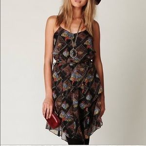 Free People brown daisy chain strappy boho dress